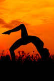 Sunset yoga Stock Photo