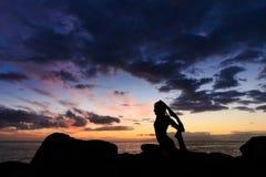 Sunset yoga on Tenerife beach Royalty Free Stock Photos