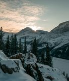 Sunset in Yoho National Park from Paget Peak. During a cold winter night Royalty Free Stock Image