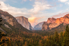Sunset in the Yosemite valley Stock Image