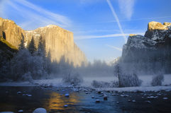 Sunset on yosemite in winter Royalty Free Stock Photos