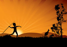Sunset with young aboriginal man. Young aboriginal man hunting in the sunset vector illustration