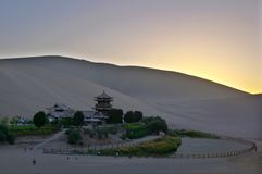 Sunset YueYaQuan China. Sunset YueYaQuan in Dunhuang Chinese Royalty Free Stock Photography