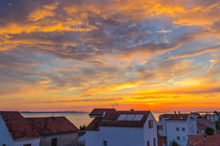 Sunset on Zadar Croatia. Sunset on the coastline in Zadar. View from the balcony of the hotel Royalty Free Stock Photos