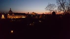 Sunset in Zagreb stock image