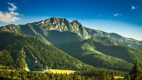 Sunset in Zakopane view of Mount Giewont stock video footage