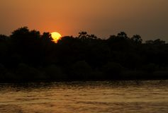 Sunset in Zambezi River. Sunset Cruise in Zambezi River, Victoria Falls, Zimbabwe, Africa Royalty Free Stock Photography