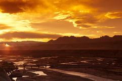 Sunset in Zanda, Tibet Stock Photo