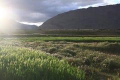 Sunset in Zanskar Valley. Beautiful lights from the sunset sky in Padum stock photo