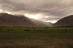 Sunset in Zanskar Valley. Beautiful lights from the sunset sky in Padum royalty free stock image