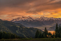 Sunset in Zell am See Royalty Free Stock Photo