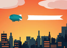 Sunset Zeppelin with flag. Vector image of a Zeppelin with flag above the city in the sunset Royalty Free Stock Image