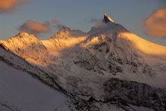Sunset on the Zinalrothorn. (4221m) as seen from the Tracuit Hut Stock Image