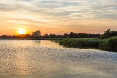 Sunset in Zinnowitz with   backwater Stock Photos