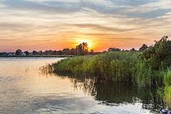 Sunset in Zinnowitz with   backwater Royalty Free Stock Image