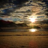SunsetBeachscene 免版税库存照片