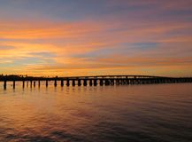 Sunseting över Manateefloden Royaltyfri Foto