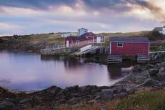Sunseting nad połów scenami Fotografia Stock