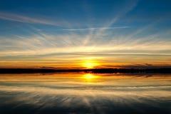 SunsetOver un lac oklahoma Photos libres de droits