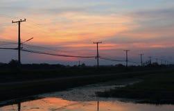 Sunsets σε Kasetsart πανεπιστημιακό Kamphaeng Saen στοκ φωτογραφίες