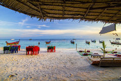 Sunsets en mooi strand Royalty-vrije Stock Fotografie