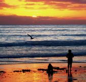 Sunsets Farewell Kiss to Summer, San Diego, California stock photography