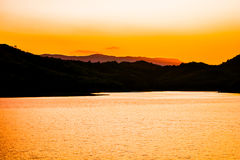 Sunsets Landscape Water storage dams Stock Image