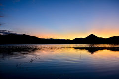Sunsets Landscape Water storage dams Royalty Free Stock Image