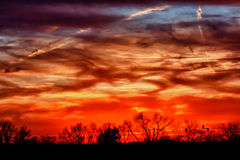 Sunsets over Chester County PA. Sunsets as seen from Shamona Creek Elemetary School stock photography