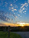 Sunsets over de waaier van het legervuren Royalty-vrije Stock Foto's