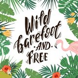 Sunsets and palm trees. Wild barefoot and free. Hand drawn lettering on tropical background with flamingo royalty free illustration