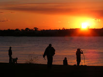 Sunsets-Rivers-Poeple at Sunset-Mississippi River, New Orleans, Louisiana. Man walking his dog, Water, and Rivers Stock Photos