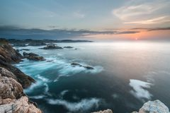 The sunsets in the sea of the coasts and beaches of Galicia and Asturias stock images