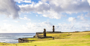 The Sunsets in Tahai. Beautiful light in Ahu Tahai sacred place, Easter Island Royalty Free Stock Photo