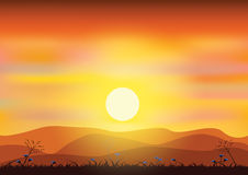 Sunsets, Vector illustrations Stock Images