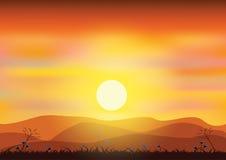 Sunsets, Vectorillustraties Stock Afbeeldingen