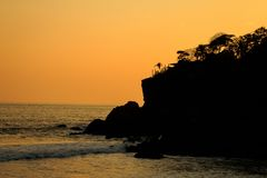Sunsets in vreedzaam stock afbeelding