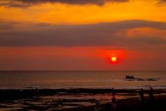 Sunsetting на пляже Canguu Стоковое фото RF