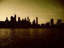 Sunsetting het van de binnenstad van New York Manhattan stock videobeelden