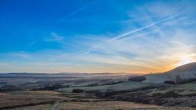 Sunsetting på de Pentland kullarna Royaltyfri Foto