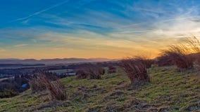 Sunsetting sulle colline di Pentland Immagini Stock