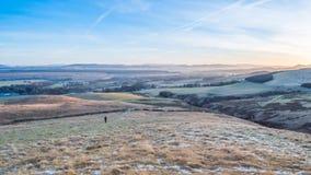 Sunsetting sur les collines de Pentland Image stock