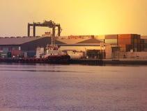 Sunsetting widok w AJMAN zatoczce, DUBAJ na 21 2017 Lipu Zdjęcie Stock