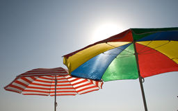 Sunshade 12. Colored sunshade on the coastline Royalty Free Stock Images