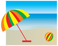 Sunshade on the beach. A vector illustration of a sunshade on the beach Stock Image