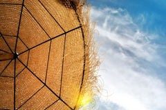 Sunshade on the beach stock images
