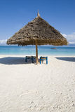 Sunshade on beach in zanzibar Stock Images