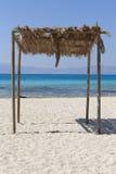 Sunshade at Chrysi island beach near Crete. Greece Royalty Free Stock Image