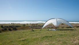 Sunshade erected. Royalty Free Stock Image