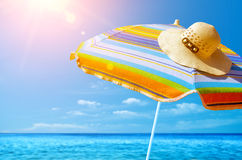 Sunshade and Hat Stock Images